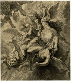 Michael fighting the rebel angels; the struggling rebel angels vainly attempt to resist their descent into hell as various monstrous, devilish figures grapple with them. Catholic Art, Religious Art, Engraving Illustration, Illustration Art, Rennaissance Art, Archangel Tattoo, Renaissance Kunst, Arte Obscura, Kunst Online