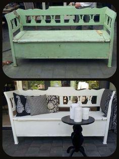 We kregen een mooi voorbeeld van Thea. Een bankje getransformeerd van groen naar wit !