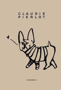 Frenchie, French Bulldog Invitation, illustration.
