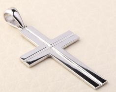 07e812481d1 Sterling Silver and Stainless Steel Men s Cross Pendant in 2019 ...