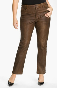NYDJ 'Sheri' Skinny Terra Hide Jeans (Plus) available at #Nordstrom  This is whats hot for the winter look they are deninm jeans that are treated to look like leather. I love love these. #plussize