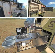 Pull out kitchen. 'Cause who wants to hang around & cook inside a cramped camper. And this design means usable sinks. Nice storage. Years ago, many popup trailers had the kitchen in a drawer kind of like this. I don't know why they abandoned that idea for a useless setup inside.