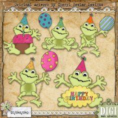 Fat Birthday Frogs 1 - Cheryl Seslar Country Clip Art