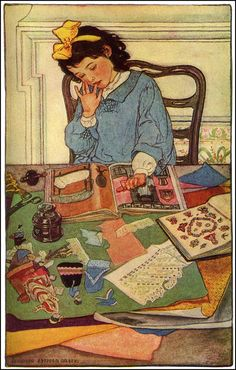 Child reading and creating.Elizabeth Shippen Green. TheMind of a Child by Edwin S. Martin. Harper's Monthly Magazine, December 1906....