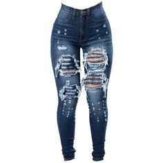 4e41f9ec74b Available in Medium Blue High Waisted Faux Front Pockets Distressed Thighs Skinny  Leg Cotton
