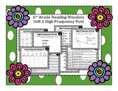This HUGE bundle for 1st Grade Reading Wonders includes TONS of fun and engaging ways for the students to review their high frequency words for Start Smart and Unit 1! Each set of high frequency words Includes:*Roll it! Read it! Color it! Students will roll a dice and read the word under that number.
