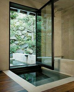 Stunning japanese soaking tub for looking out at the lovely vista and smelling the fresh air! Japanese soaking tubs How To Add Japanese Style To Your Home Japanese Soaking Tubs, Japanese Bathroom, Japanese Shower, Japanese Spa, Indoor Outdoor Bathroom, Outdoor Pool, Outdoor Showers, Outdoor Ideas, Dream Bathrooms