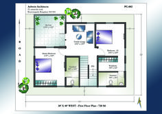 Looking for 30 X 40 House Plans? Superior 30 X 40 West Facing House Plans for 2 Storey House. Detailed schematics of West Facing Home Plans in India 20x30 House Plans, Porch House Plans, Basement House Plans, Bedroom House Plans, Country House Plans, Unique Small House Plans, Modern House Floor Plans, Best House Plans, Plan Duplex