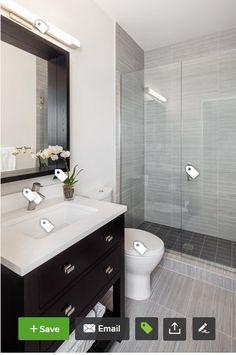 Contemporary 3/4 Bathroom with Pental Meteor Grigio 12x24