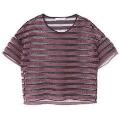 Metallic Striped T-Shirt (265.620 IDR) ❤ liked on Polyvore featuring tops, t-shirts, crop top, shirts, mango t shirt, striped tee, purple t shirt, mesh top and short sleeve tee