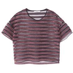Metallic Striped T-Shirt (32 BRL) ❤ liked on Polyvore featuring tops, t-shirts, shirts, crop tops, short sleeved, stripe t shirt, purple shirt, mesh t shirt and striped t shirt