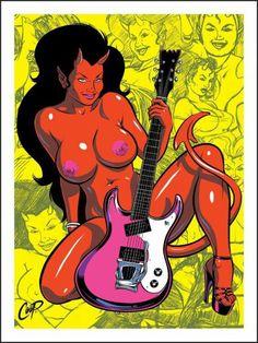 Devil Girl with Guitar silkscreen print by Coop (Chris Cooper, lowbrow art, demons) Anime Sensual, Ange Demon, Lowbrow Art, Sexy Cartoons, Angels And Demons, Comics Girls, Arte Pop, Pulp Art, Silk Screen Printing