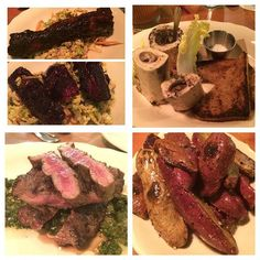 [This contemporary restaurant and #ButcherShop features wood smoked #barbecue and #CraftBeer in a rustic environment]  Top left: brown sugar #BeefShortrib over #ColeSlaw (2 orders). Top right: #BoneMarrow. Bottom left: #NewYorkStrip. Bottom right: #FlankSteak  #BaltimoreRestaurants #BaltimoreEats #Baltimore #FoodBlogger #foodie #FoodPorn #ChefsOfInstagram #TheArtOfPlating #butchery #GrilledMeat #GrilledMeats #BarbecuePorn #BBQ #RedMeat #beef #SmokedMeat #MeatSmoker #WoodFireBBQ #BBQpitMaster…