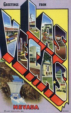 Vintage Large Letter Postcard ~ Las Vegas, Nevada