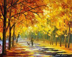 WALKING MY DOG - palette knife Oil Painting On Canvas By Leonid Afremov http://afremov.com/WALKING-MY-DOG-palette-knife-Oil-Painting-On-Canvas-By-Leonid-Afremov-16-X20-50cm-x-60cm.html?bid=1&partner=20921&utm_medium=/vpin&utm_campaign=v-ADD-YOUR&utm_source=s-vpin