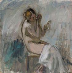 Ellen Thesleff (Finnish artist) 1869 - 1952 Malli ja Peili (Model with Mirror), 1924 oil on cardboard 40 x 40 cm. Figure Drawing Models, Human Figure Drawing, Figure Drawing Reference, Anatomy Reference, Art Station, Art Themes, Portraits, Mirror Image, Female Portrait