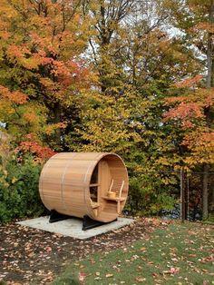 Outdoor Pine/Cedar Luxury Barrel Sauna Room - Brand New Modern Landscaping, Outdoor Landscaping, Outdoor Gardens, Natural Swimming Pools, Natural Pools, Barrel Sauna, Sauna Heater, Outdoor Sauna, Sauna Room