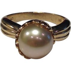 Vintage 14k Cultured South Sea Yellow Pearl Ring from the Many Faces of Japan on Ruby Lane