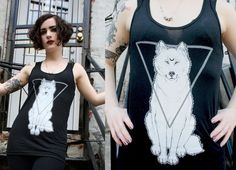 Items similar to Crescent Moon Wolf screenprinted tank Unisex sizes XS S M L XL American Apparel poly-cotton sleeveless top on Etsy Wolf Moon, American Apparel, Screen Printing, Unisex, Trending Outfits, Clothes, Vintage, Etsy, Dresses