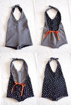 petit à petit and family: KCW Day 6... reversible girls bathing suit
