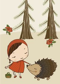 The Hedgehog - postcard illustration by Terese Bast. Illustration Art, Illustrations, Rooster, Fairy Tales, Print Design, Disney Characters, Fictional Characters, Design Inspiration, Hedgehogs
