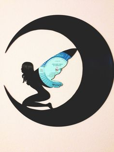 Fairy on Cresent Moon Vinyl/Record Art Cutout