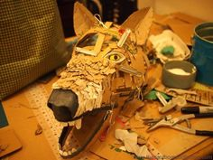 If you're thinking about making a cardboard headpiece for your Halloween costume, this weekend is the time to get started! Last Year we created 2 different kinds of cardboard heads, using two differen