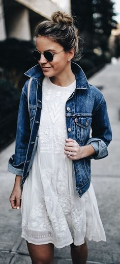 Dress, jean jacket and topknot: #momlife