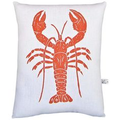 $32 Artgoodies Lobster Block Print Squillow Accent Pillow