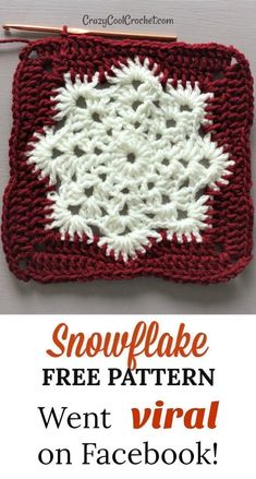 Snowflake FREE PATTERN I used for a crochet Christmas pillow. Facebook went mini-viral for this! Fast crochet. Makes great crochet Christmas gifts! Unique teacher gift! #crazycoolcrochet #crochetChristmas #freecrochetpattern #freecrochetpatterns #crochetf