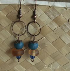 AERIS I  ethnofolk glass and copper earrings peachy and lazure by ArcheoChic, $9.99