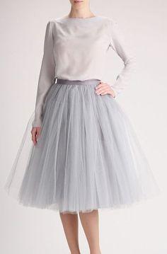 Grey tulle skirt, Handmade long skirt, Handmade tutu skirt