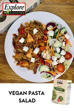 Pasta + Salad = the perfectly balanced lunch! Check out this dish featuring lots of nutritious ingredients! Recipe from @sw.lovs on IG Pasta Salad, Cobb Salad, Edamame Spaghetti, Vegan Pasta, Plant Based Recipes, Lunch, Meals, Dishes, Check