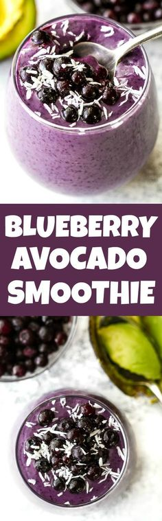 This super creamy blueberry avocado smoothie is packed with protein, healthy fats, vitamins and antioxidants. Gluten-free and easily made vegan, it makes a healthy and delicious breakfast or snack | http://runningwithspoons.com