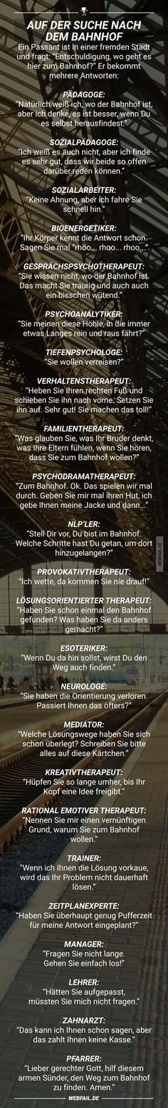 Auf der Suche nach dem Bahnhof In search of the station Funny Texts, Funny Jokes, Hilarious, Fail Video, Magic Words, Funny Bunnies, Some Words, Funny Fails, Funny Cute