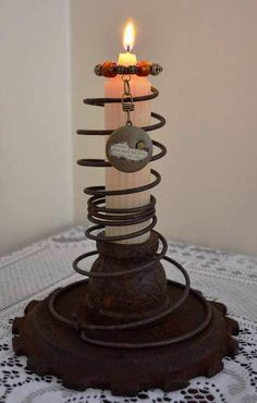 Rusty Bedspring and Gear Candleholder