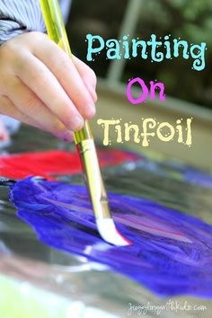 My daughter loves to paint, so I thought we would change it up a bit and try painting on foil. Supplies: Paint (we used tempura) Paint brushes Tinfoil Tape Child's Art Smock Dish Soap (option… Kindergarten Art, Craft Activities For Kids, Toddler Activities, Projects For Kids, Preschool Activities, Crafts For Kids, Toddler Fun, Art Projects, Tactile Activities