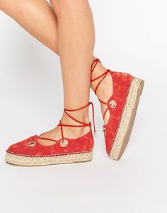Image 1 of River Island Suede Lace Up Espadrilles