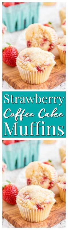 These Strawberry Coffee Cake Muffins are made with sweet fresh berries and buttermilk and topped with a delicious sugar and butter crumble! via @sugarandsoulco
