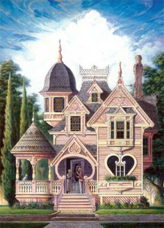 Victorian Queen Anne Gingerbread Valentine Heart House Art C Pink Houses, Old Houses, Beautiful Buildings, Beautiful Homes, Victorian Style Homes, Victorian Houses, Victorian House Plans, Victorian Cottage, Victorian Design