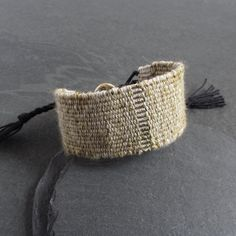 Handwoven linen cotton silk bracelet / textile bracelet / cuff bracelet / loom woven bracelet / fiber jewelry / olive black gold bronze Jewelry Polishing Cloth, Handmade Jewellery, Natural Linen, Cotton Silk, Artisan Jewelry, Loom, Black Gold, Cuff Bracelets, Hand Weaving