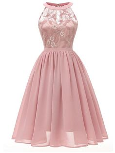 Women Sleeveless Gown Dress Lace Chiffon Cut Out Back A-Line Evening Party Formal Dress Lace Dresses Ladies Vestidos Pink XL Tulle Prom Dress, Grad Dresses, Ball Gown Dresses, Homecoming Dresses, Dress Up, Dress Lace, Bridesmaid Dresses, Chiffon Dresses, Dress Girl