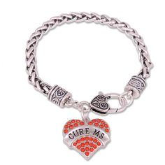 Cure MS Multi-Colored Crystal Silver Bracelet