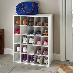 Meet your match, shoe pile. #ShoeStorage #EntrywayOrganization #HomeOrganization Cube Organizer, Cube Storage, Storage Shelves, Storage Organizers, Storage Ideas, Shelving, Large Shoe Rack, Wall Mounted Shoe Rack, Stackable Shelves