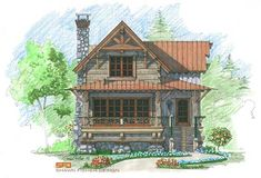 Plan of the Week: Copperhead Camp – Natural Element Homes Cottage House Plans, Small House Plans, Cottage Homes, Cottage Ideas, Cabin Design, House Design, Design Design, Porches, Cabin Floor Plans