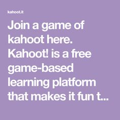 Join a game of kahoot here. is a free game-based learning platform that makes it fun to learn – any subject, in any language, on any device, for all ages! Elementary School Counseling, Elementary Schools, Math Coach, Ice Breaker Games, Social Bookmarking, College Classes, Too Cool For School, Middle School, Activity Games