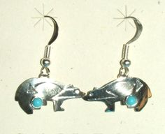 Sterling silver bear earrings with turquoise stone.  Native American made. $21.95 w/ free shipping! #earrings #bears #nativeamerican #silver #jewelry