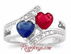 Available at RiverSongs.com Sterling Silver Couples Birthstone Hearts Diamond Name Ring. http://www.riversongs.com/cheap_promise_rings_diamond.html