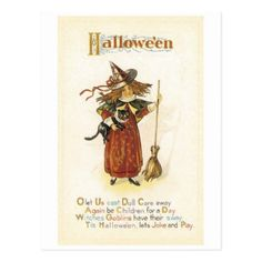 Old-fashioned Halloween Witch girl with Black cat Postcard - girl gifts special unique diy gift idea