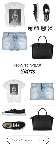 """Denim Skirt"" by patsy-watsy on Polyvore featuring mode, Dsquared2, Vans, Topshop et Givenchy"